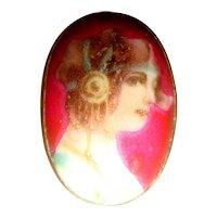 Early 20th C Antique Handpainted Portrait Miniature Stick Pin