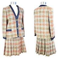 Vintage 1960s Bonnie Cashin Leather-Trimmed Skirt Suit XS/S