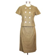 Vintage 1960s Hathaway House 2 Pc Khaki Silk Shantung Dress Suit XS