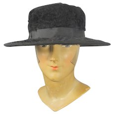 1910s Plush Black Fur Felt Ladies' Hat