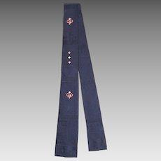 Vintage 1950s Manhattan Navy Rayon Square Bottom Skinny Tie