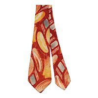 Vintage 40s Smoothie Royal Abstract Print Rayon Satin Necktie