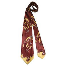 "Vintage c.1950 Towncraft Rayon Satin Wide Tie ""French Edge"" Figural Print"