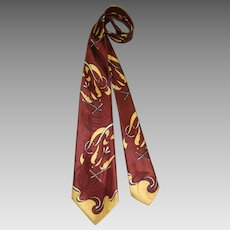 """Vintage c.1950 Towncraft Rayon Satin Wide Tie """"French Edge"""" Figural Print"""