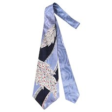 Vintage 50s Smoothie Ice Blue Satin Leaf Print Wide Tie