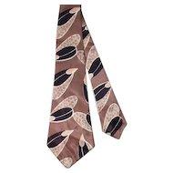 Vintage 1940s Stylized Leaf Print Rayon Satin Wide Tie