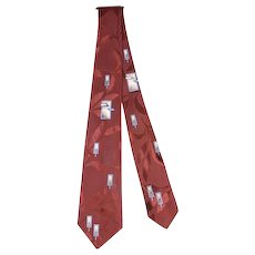 Vintage 1950s Esquire Cravat Floating Windows Satin Jacquard Necktie