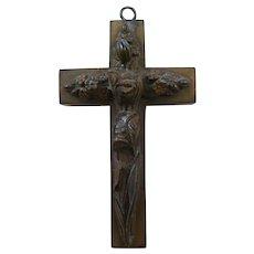 Antique 19th C Vulcanite Cross Pendant w/Ornate Raised Floral Design