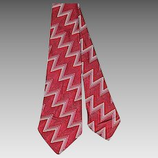 Vintage 30s/40s Trojan Cravats Bolts Out of the Blue Damask Necktie