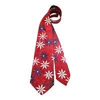 Vintage 40s/50s Red, White & Blue Flowered Satin Wide Tie