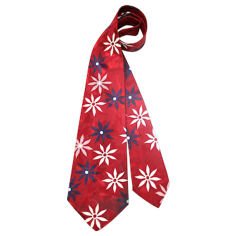 Vintage 40s/50s Red, White & Blue Flowered Satin Wide Tie