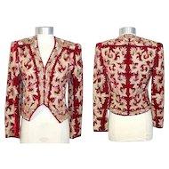 Vintage 1980s Adolfo Embellished Red Velvet Matador Style Jacket XS