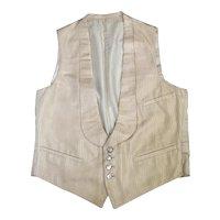 1920s Cream Silk Men's Vest or Waistcoat w/Krementz Shell Buttons S