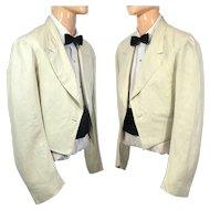 Vintage 1930s Men's Cream Linen Mess Jacket Stanley Mortimer S