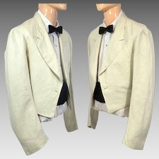 Vintage 1930s Men's Cream Linen Mess Jacket Stanley Mortimer S