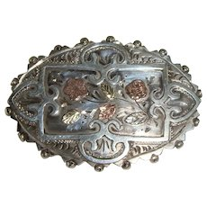 19th c Sterling Aesthetic Period Brooch w/ Roses & Forget-Me-Not