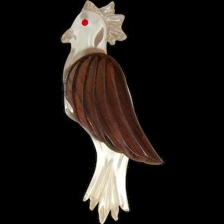 Vintage 40s Lucite & Wood Cockatoo Brooch