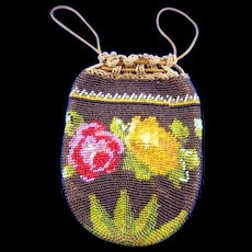 Antique Edwardian Glass Beaded Drawstring Purse Roses
