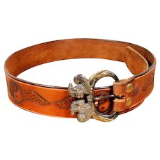 Vintage 80s Men's Tooled Leather Yin/Yang Belt w/ Mythological Brass Buckle