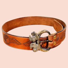 57795b8f Vintage 80s Men's Tooled Leather Yin/Yang Belt w/ Mythological Brass Buckle