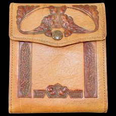 "Vintage 20s/30s Prohibition-Era Tooled Leather Wallet ""Schussler Packing Co."""