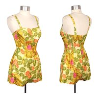 Vintage c.1960 Tina Leser Abstract Dots Romper Swimsuit