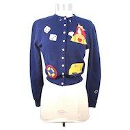 Vintage 1950s Dalton Gambling Theme Navy Cashmere Cardigan XS