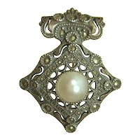 Vintage 80s Judith Jack Sterling Marcasite & Mother of Pearl Brooch