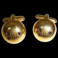 Vintage 1950s Hickok Goldtone Bowling Ball Cuff Links