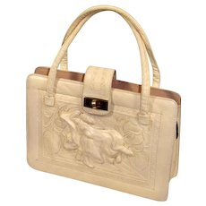 Vintage 1970s Cream Mexican Tooled Leather Purse