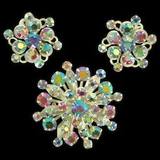 Vintage 1950s Snowflake Brooch & Earring Demi w/ Aurora Borealis Rhinestones