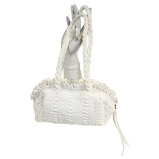 Vintage 1950s White Hand-Loomed Nylon Purse Handbag