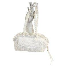Vintage 1950s White Hand-Loomed Nylon Purse Handbag