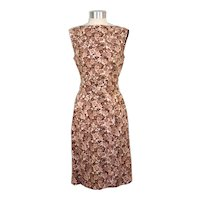 Vintage 1960s Brown & White Floral Sheath Dress w/Belt S