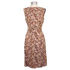 Vintage 1960s Brown & White Floral Sheath Dress w/Belt S