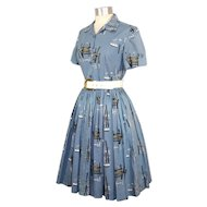 Vintage c.1960 Novelty Boat & Pier Print Shirtwaist Dress  As Is S