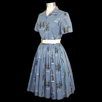 Vintage c.1960 Novelty Boat & Pier Print Shirtwaist Dress  As Is S