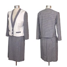 Vintage 1950s White Leather & Navy Houndstooth Suit The Custom Shop XS/S