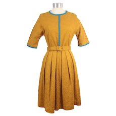 Vintage 1960s Koret of California Gold Cotton Swirl Knit Dress S