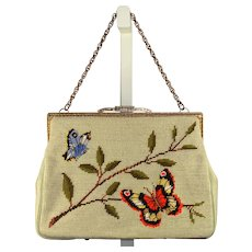 Vintage 1960s Needlepoint Purse w/Butterfly Design & Chain Handle