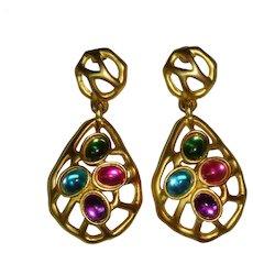 Vintage 1980s Jewelled Abstract Goldtone Filigree Post Earrings