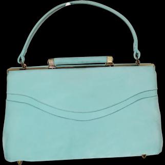 Vintage 1960s Stylecraft Miami Aqua Suede Purse