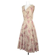 Vintage 1950s Jerry Gilden Jeweled Paisley Floral Cotton Dress XS