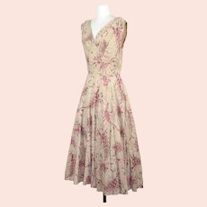 Vintage 1950s Jerry Gilden Jeweled Paisley Floral Cotton Dress XS