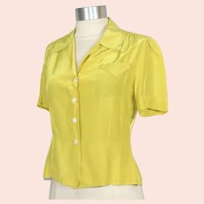 Vintage 1940s Fruit of the Loom Chartreuse Rayon Satin Blouse S