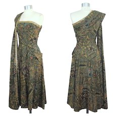 Vintage 1950s Tina Leser Batik Print Strapless Dress w/Attached Stole XS
