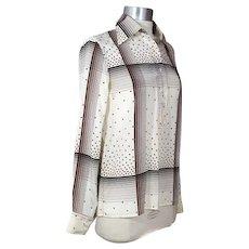 Vintage 70s Valentino Boutique Stars & Plaid Print Silk Blouse XS/S