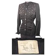 Vintage 40s/50s Lilli Ann Jewelled Black Wool Evening Jacket S