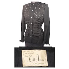 Vintage 40s/50s Lilli Ann Jewelled Black Wool Evening Jacket S