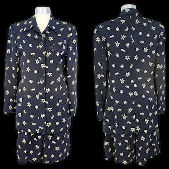 Vintage 90s Giorgio Armani Navy Seashore Print Walking Short Suit S/M